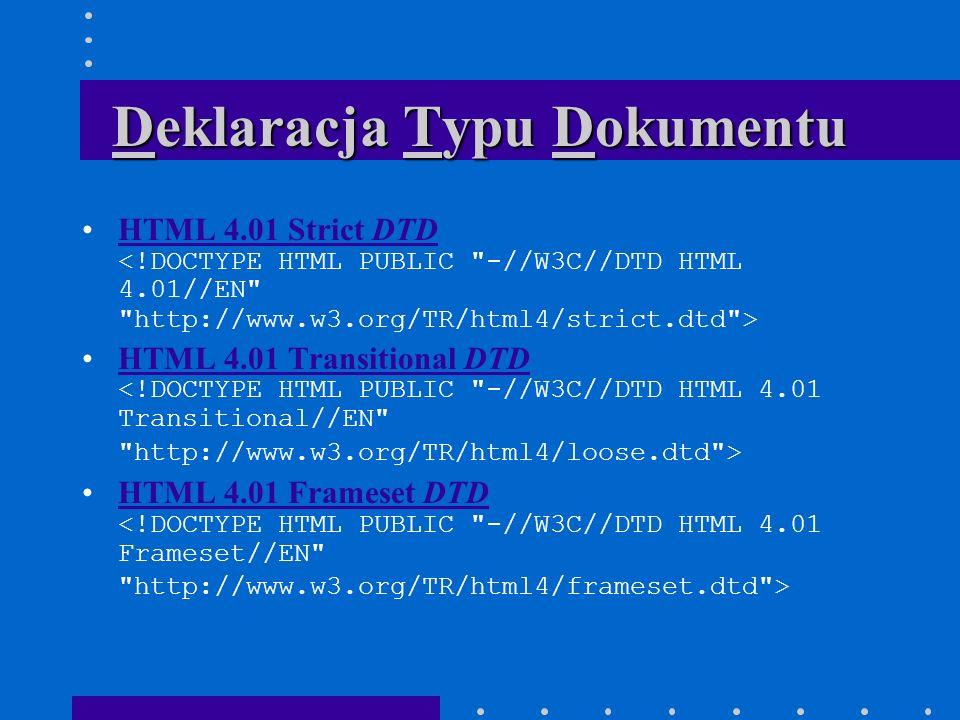 Deklaracja Typu Dokumentu HTML 4.01 Strict DTD HTML 4.01 Strict DTD HTML 4.01 Transitional DTD HTML 4.01 Transitional DTD HTML 4.01 Frameset DTD HTML 4.01 Frameset DTD