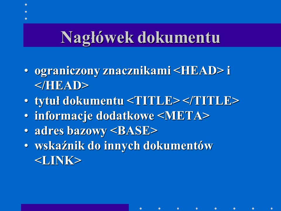 Nagłówek dokumentu ograniczony znacznikami i ograniczony znacznikami i tytuł dokumentu tytuł dokumentu informacje dodatkowe informacje dodatkowe adres bazowy adres bazowy wskaźnik do innych dokumentów wskaźnik do innych dokumentów