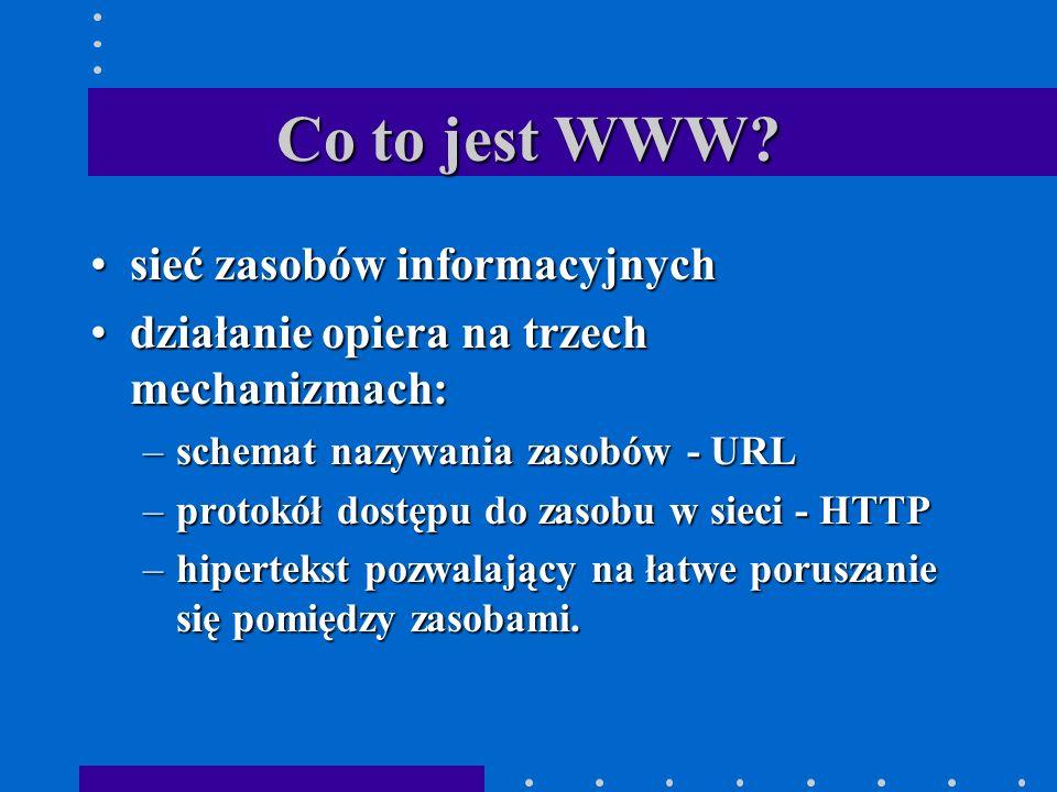 URL URL składa się zwykle z trzech części:URL składa się zwykle z trzech części: –nazwy mechanizmu pozwalającego na uzyskanie zasobu –adresu węzła przechowującego zasób –nazwy zasobu określanej jako ścieżka dostępu