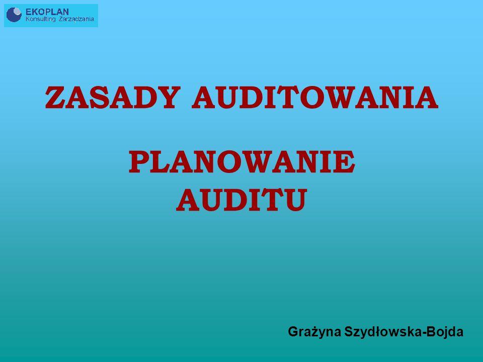 Grażyna Szydłowska-Bojda ZASADY AUDITOWANIA PLANOWANIE AUDITU