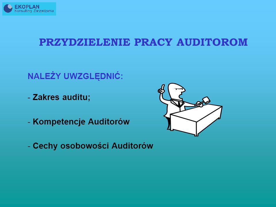 PRZYDZIELENIE PRACY AUDITOROM NALEŻY UWZGLĘDNIĆ: - Zakres auditu; - Kompetencje Auditorów - Cechy osobowości Auditorów