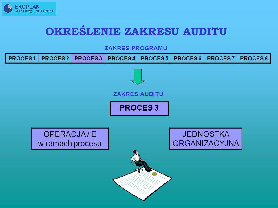 PROCES 1PROCES 2PROCES 3PROCES 4PROCES 5PROCES 6PROCES 7PROCES 8 OKREŚLENIE ZAKRESU AUDITU ZAKRES PROGRAMU ZAKRES AUDITU PROCES 3 OPERACJA / E w ramach procesu JEDNOSTKA ORGANIZACYJNA