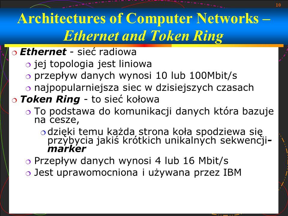 10 Architectures of Computer Networks – Ethernet and Token Ring Ethernet - sieć radiowa jej topologia jest liniowa przepływ danych wynosi 10 lub 100Mb
