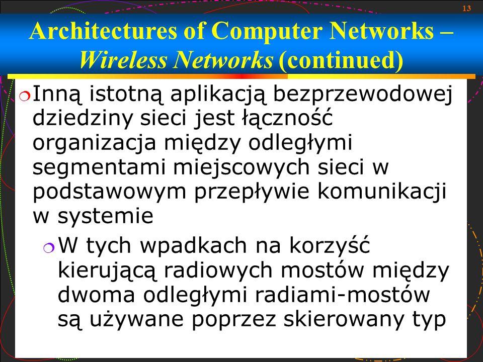13 Inną istotną aplikacją bezprzewodowej dziedziny sieci jest łączność organizacja między odległymi segmentami miejscowych sieci w podstawowym przepły
