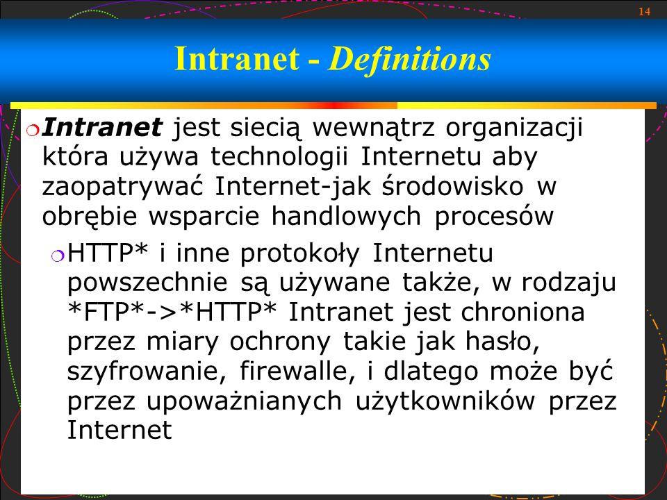 14 Intranet - Definitions Intranet jest siecią wewnątrz organizacji która używa technologii Internetu aby zaopatrywać Internet-jak środowisko w obrębi