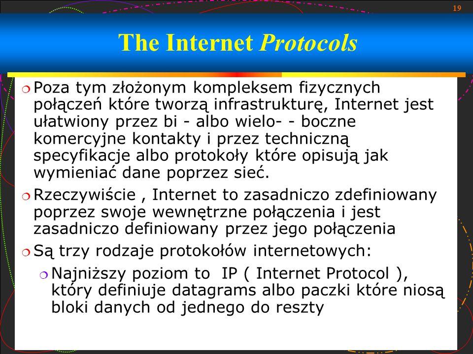 19 Poza tym złożonym kompleksem fizycznych połączeń które tworzą infrastrukturę, Internet jest ułatwiony przez bi - albo wielo- - boczne komercyjne ko