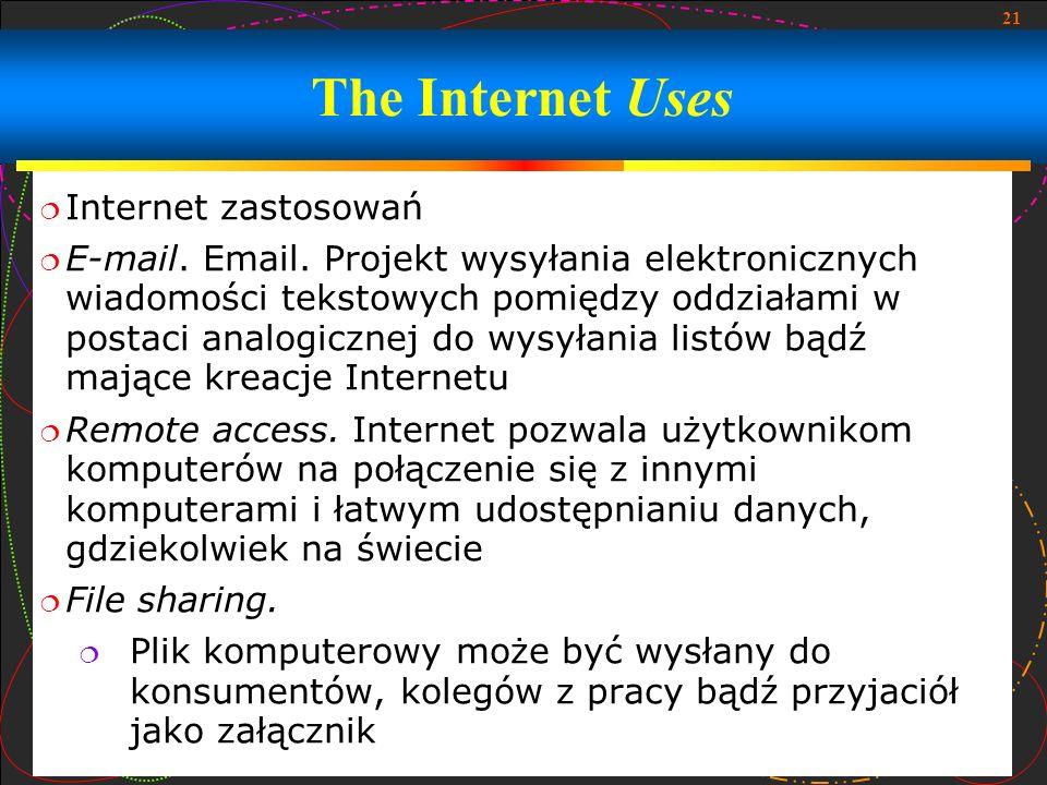 21 Internet zastosowań E-mail. Email. Projekt wysyłania elektronicznych wiadomości tekstowych pomiędzy oddziałami w postaci analogicznej do wysyłania