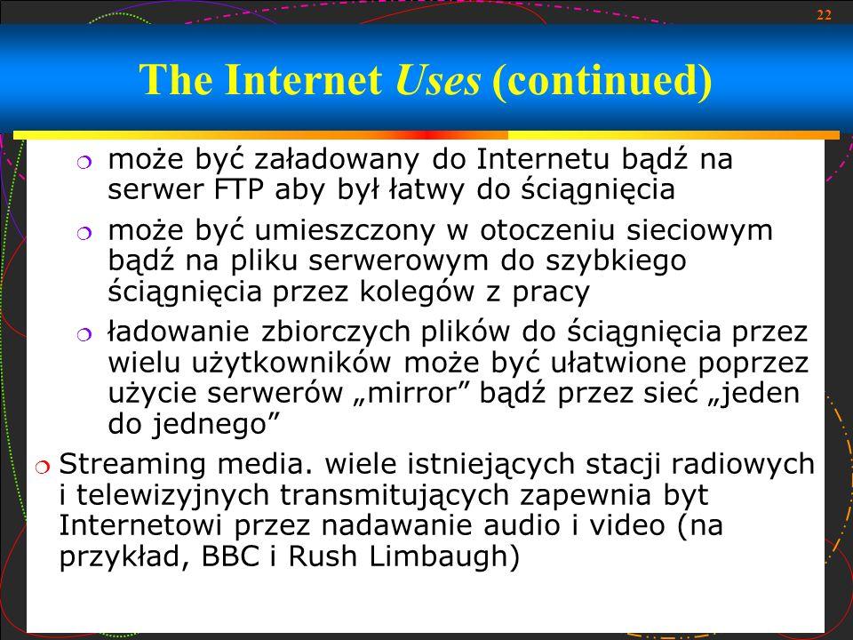 22 może być załadowany do Internetu bądź na serwer FTP aby był łatwy do ściągnięcia może być umieszczony w otoczeniu sieciowym bądź na pliku serwerowy