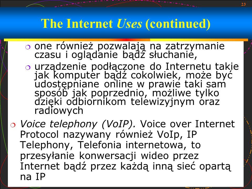 23 one również pozwalają na zatrzymanie czasu i oglądanie bądź słuchanie, urządzenie podłączone do Internetu takie jak komputer bądź cokolwiek, może b