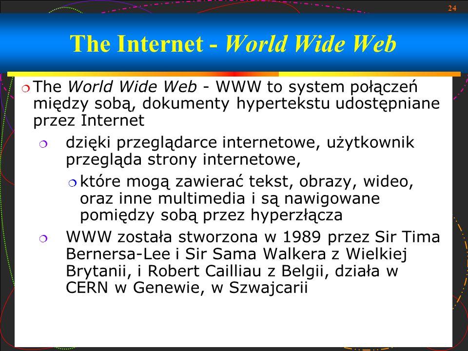 24 The World Wide Web - WWW to system połączeń między sobą, dokumenty hypertekstu udostępniane przez Internet dzięki przeglądarce internetowe, użytkow
