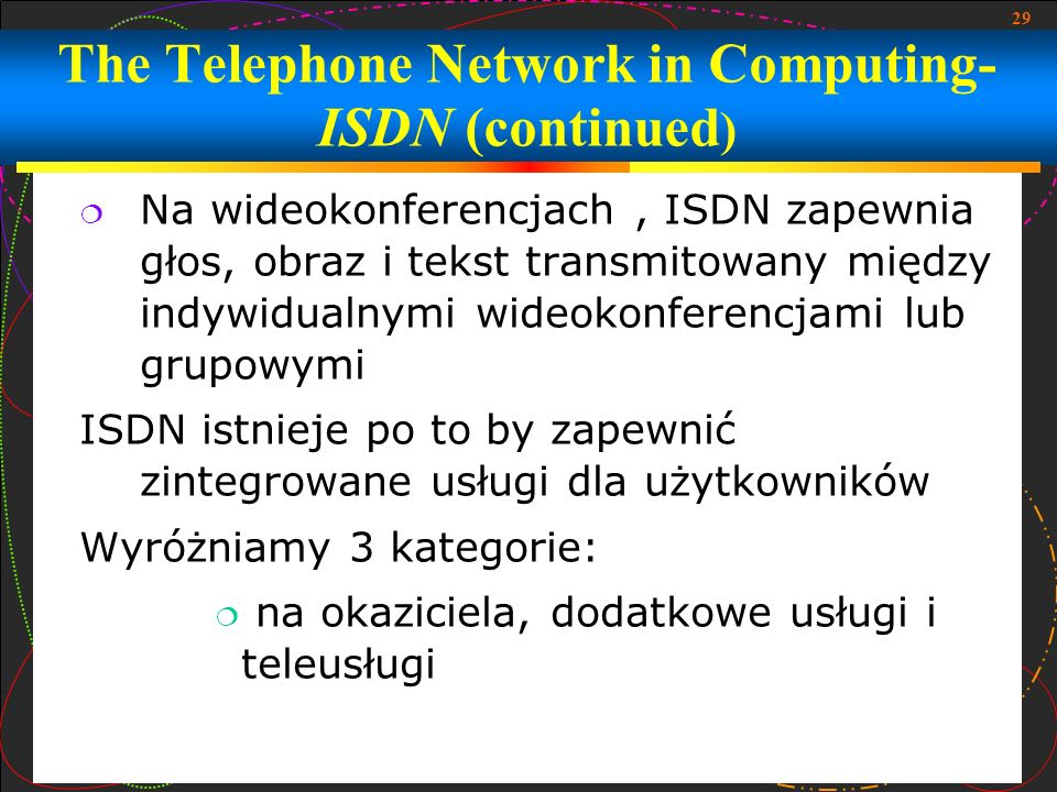 29 Na wideokonferencjach, ISDN zapewnia głos, obraz i tekst transmitowany między indywidualnymi wideokonferencjami lub grupowymi ISDN istnieje po to b