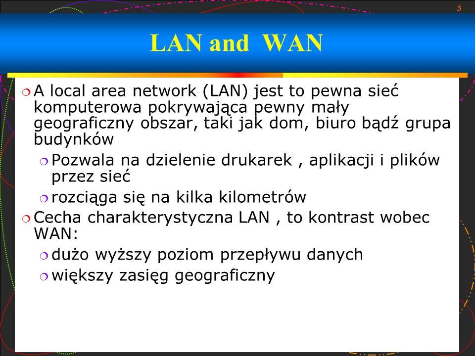 4 Wide Area Network (WAN) to sieć komputerowa która obejmująca szeroki obszar (przykładowo, każda sieć której komunikacja obejmuje stołeczne, regionalne, bądź narodowe granice) największym i najbardziej znanym przykładem sieci WAN jest Internet Sieci WAN są używane do łączenia się z sieciami LAN i innymi typami sieci internetowych wspólnie a więc użytkownicy i komputery w jednym otoczeniu mogą się komunikować z użytkownikami i komputerami w innym otoczeniu Wiele sieci WAN jest zbudowanych pod kątem szczególnej organizacji i są prywatne WAN