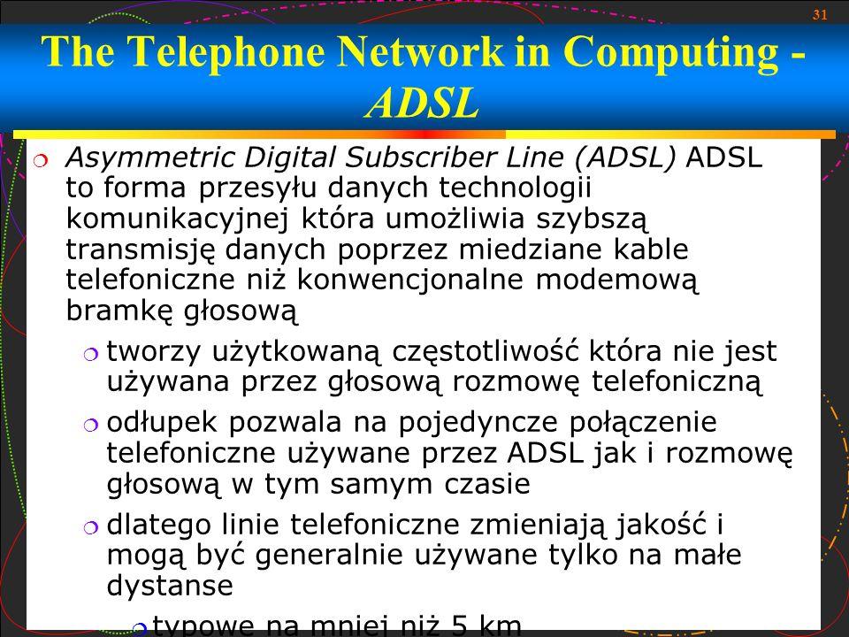 31 Asymmetric Digital Subscriber Line (ADSL) ADSL to forma przesyłu danych technologii komunikacyjnej która umożliwia szybszą transmisję danych poprze