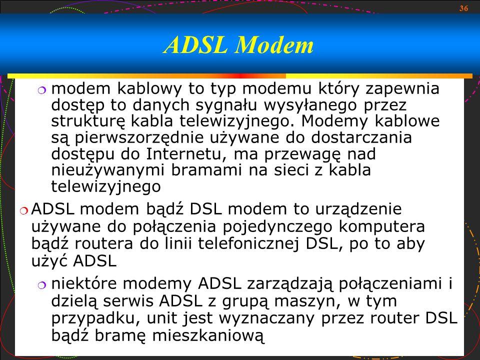 36 modem kablowy to typ modemu który zapewnia dostęp to danych sygnału wysyłanego przez strukturę kabla telewizyjnego. Modemy kablowe są pierwszorzędn