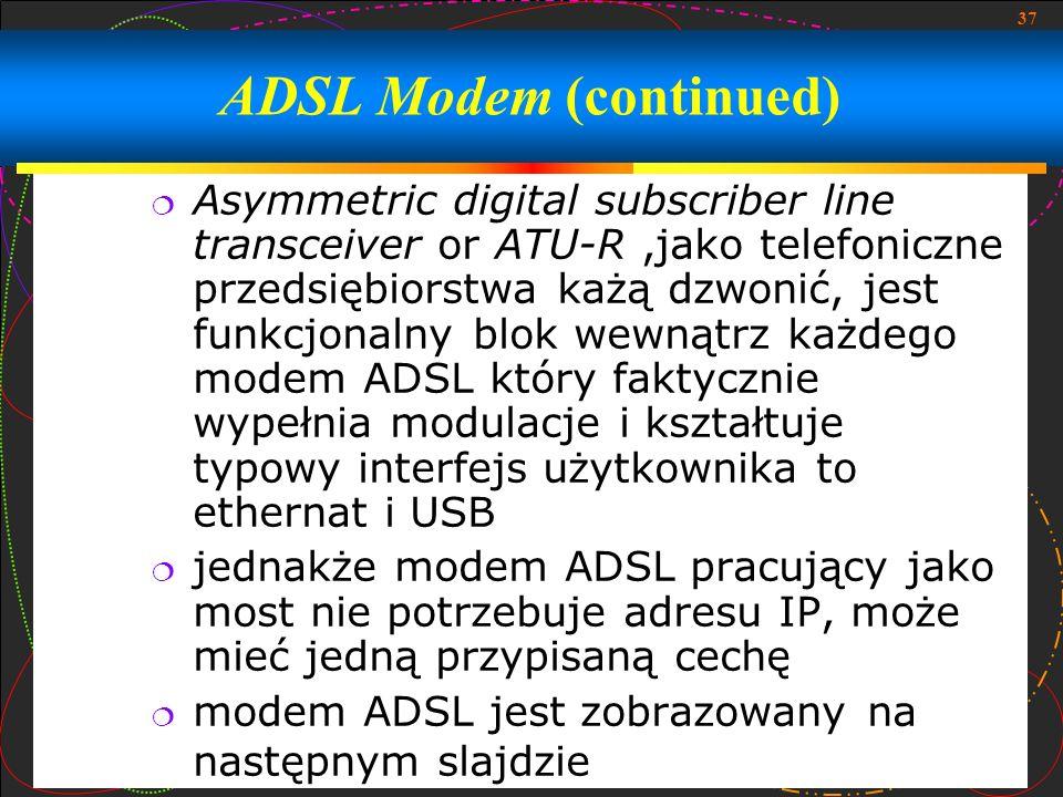 37 Asymmetric digital subscriber line transceiver or ATU-R,jako telefoniczne przedsiębiorstwa każą dzwonić, jest funkcjonalny blok wewnątrz każdego mo