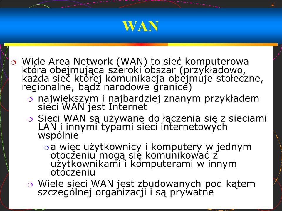 4 Wide Area Network (WAN) to sieć komputerowa która obejmująca szeroki obszar (przykładowo, każda sieć której komunikacja obejmuje stołeczne, regional