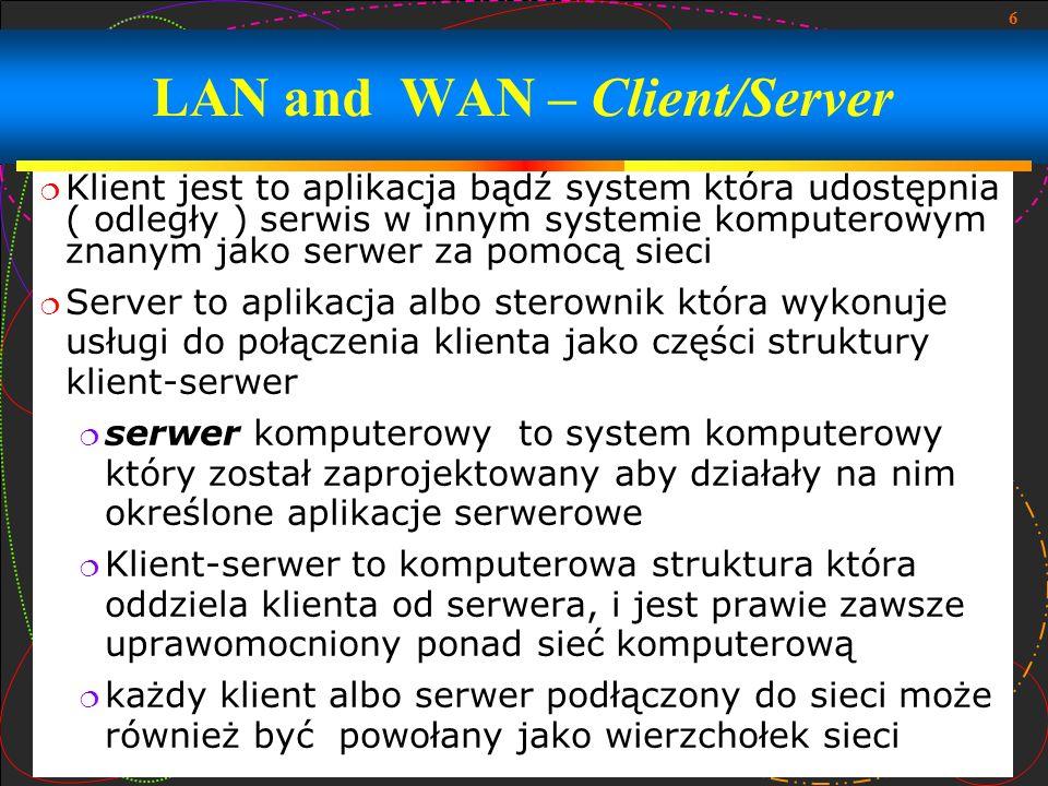 7 najbardziej zasadniczy typ klient-serwer to struktura używająca tylko dwa typy węzłów: klienci i serwery Ten typ struktury czasem jest skierowany jako dwusegmentowy pozwala urządzeniom na dzielenie plików i źródeł Protokół jest umową lub standardem który steruje albo umożliwia łączność, komunikacje i przepływ danych między dwoma skrajnymi komputerami W swoim najprostszym kształcie, protokół może być określany jako: reguły rządzące składnią, semantyka, i synchronizacja komunikacji LAN and WAN - Client/Server (continued)