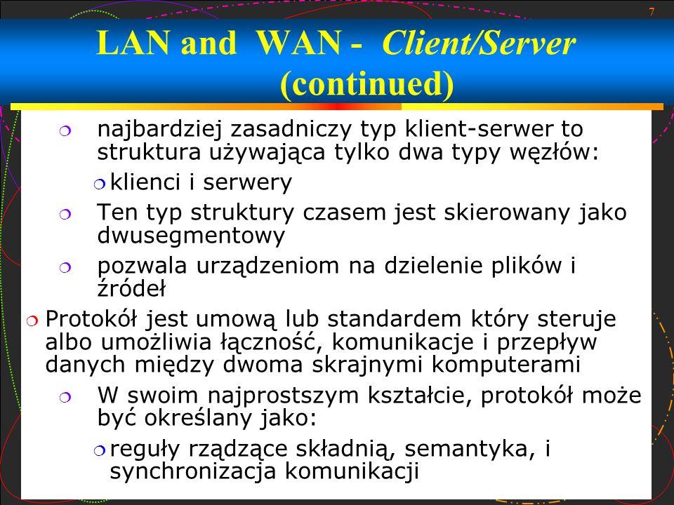 8 LAN and WAN – Group Working LAN* i *WAN* posiadają aplikacje, które używają technologię klient-serwer: Rozdzielanie drukarki umożliwia użytkownikom sieci używać drukarki, która jest połączona do sieci w bezpośredniej drodze albo przez komputer serwer dzielenie plików przez sieć umożliwia dostęp i transfer plików pomiędzy komputerami w sieci dzielenie aplikacji to element zdalnego dostępu, który umożliwia użytkownikom sieci na dostęp do dzielonej aplikacji bądź dokumentu przez odpowiednie komputery w czasie rzeczywistym