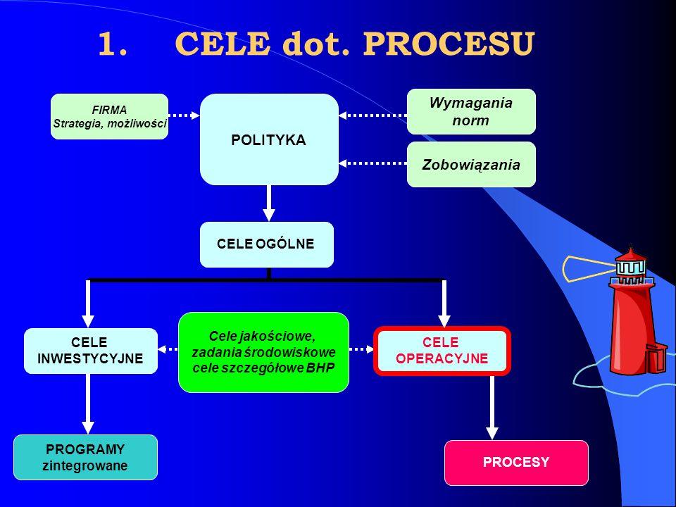 FIRMA Strategia, możliwości Wymagania norm POLITYKA Zobowiązania CELE OGÓLNE CELE OPERACYJNE PROGRAMY zintegrowane PROCESY 1.