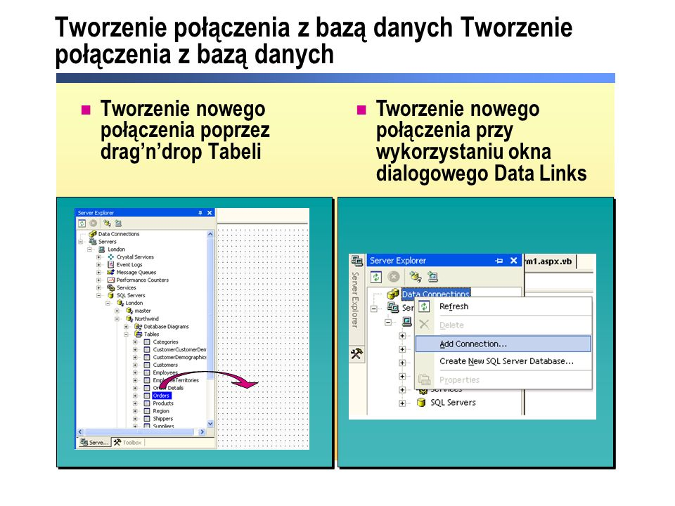 Tworzenie połączenia z bazą danych Tworzenie nowego połączenia poprzez dragndrop Tabeli Tworzenie nowego połączenia przy wykorzystaniu okna dialogowego Data Links