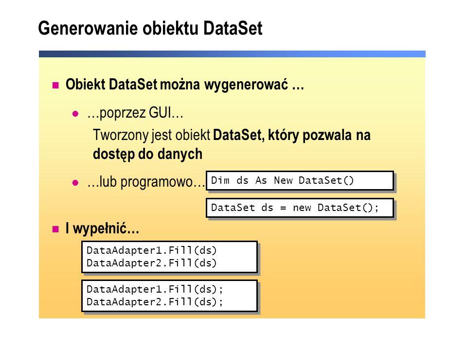 Generowanie obiektu DataSet Obiekt DataSet można wygenerować … …poprzez GUI… Tworzony jest obiekt DataSet, który pozwala na dostęp do danych …lub prog