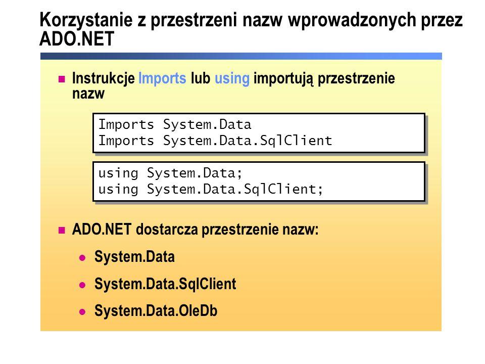 DataSet SQL Server.NET Data Provider OLE DB.NET Data Provider SQL Server 7.0 (i następne) Źródła OLEDB (SQL Server 6.5) OleDbConnection OleDbDataAdapter SqlDataAdapter SqlConnection DataTable Model obiektowy ADO.NET