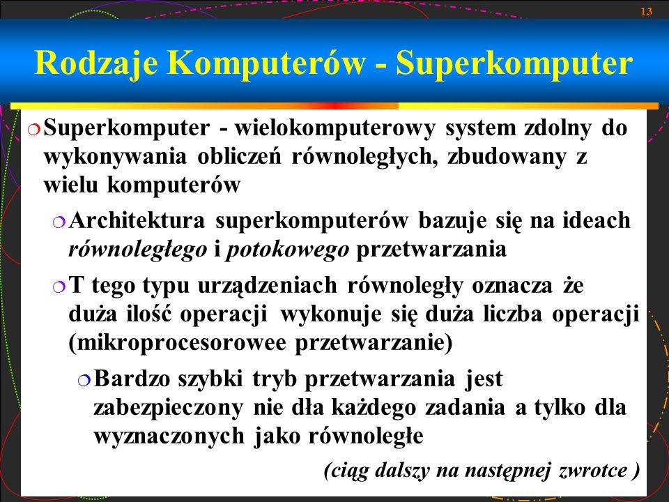 13 Superkomputer - wielokomputerowy system zdolny do wykonywania obliczeń równoległych, zbudowany z wielu komputerów Architektura superkomputerów bazu