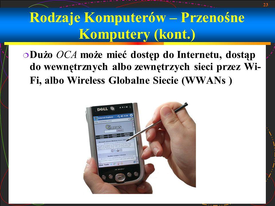 23 Dużo OCA może mieć dostęp do Internetu, dostąp do wewnętrznych albo zewnętrzych sieci przez Wi- Fi, albo Wireless Globalne Siecie (WWANs ) Rodzaje