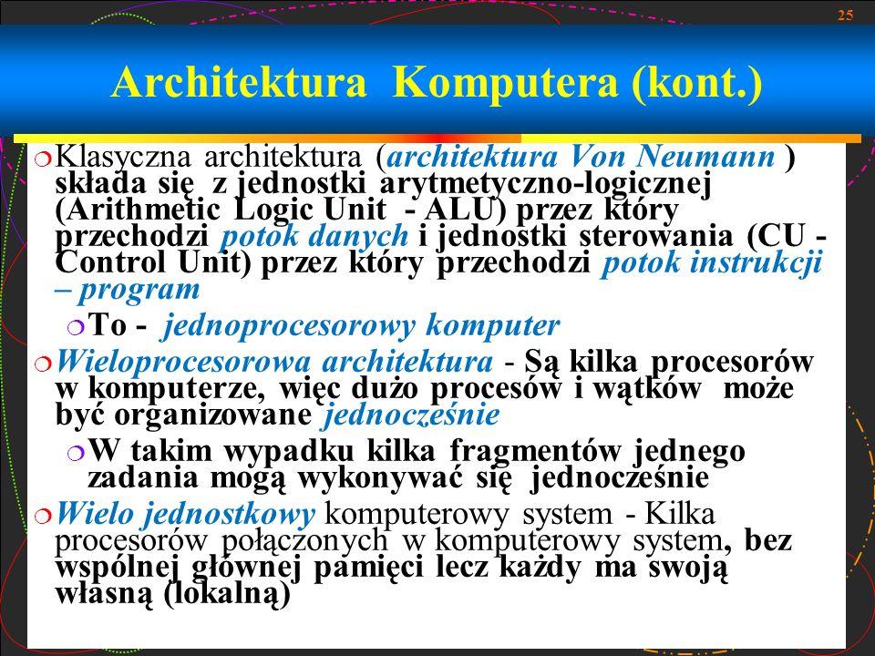25 Klasyczna architektura (architektura Von Neumann ) składa się z jednostki arytmetyczno-logicznej (Arithmetic Logic Unit - ALU) przez który przechod
