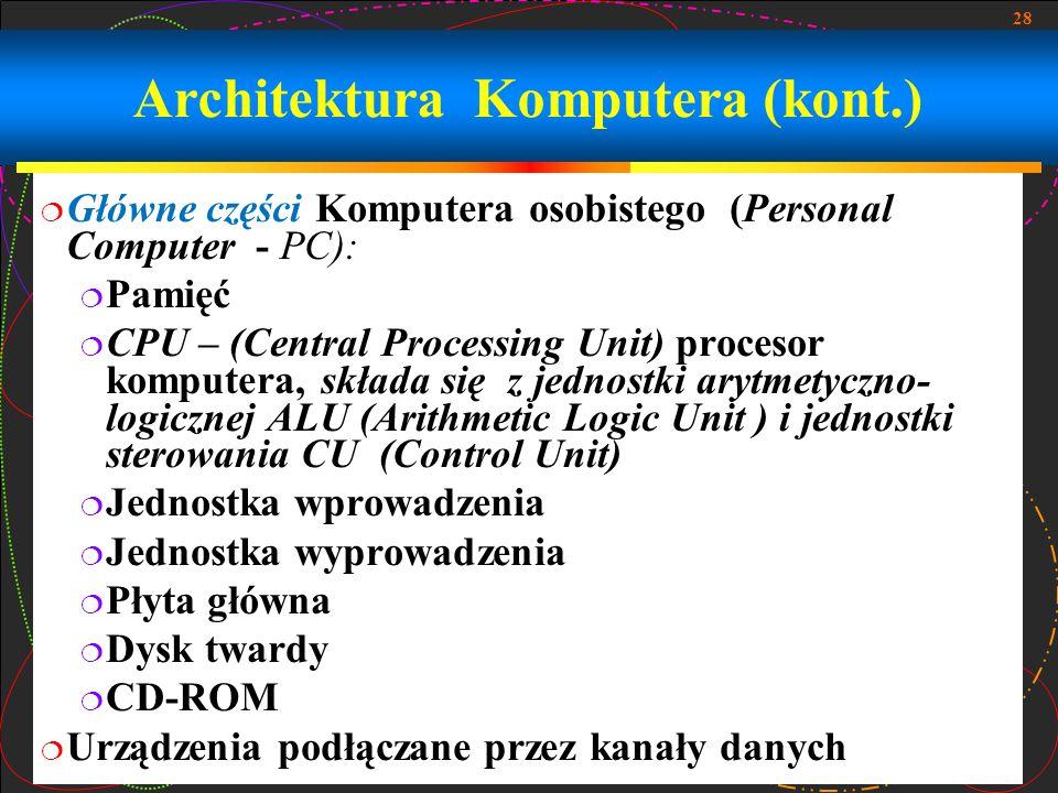 28 Główne części Komputera osobistego (Personal Computer - PC): Pamięć CPU – (Central Processing Unit) procesor komputera, składa się z jednostki aryt