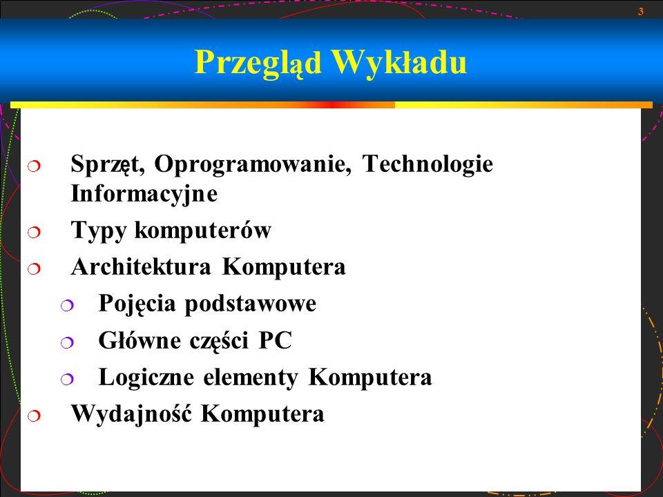 3 Przegl ą d Wyk ł adu Sprz ę t, Oprogramowanie, Technologie Informacyjne Typy komputerów Architektura Komputera Pojęcia podstawowe Główne części PC L