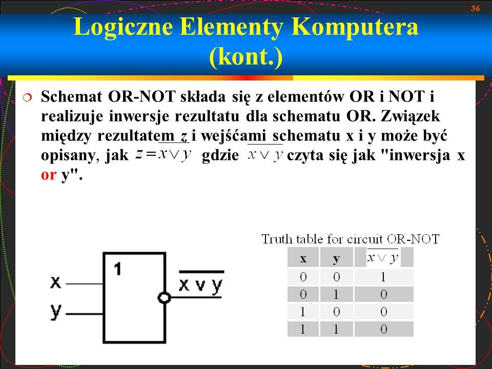 36 Schemat OR-NOT składa się z elementów OR i NOT i realizuje inwersje rezultatu dla schematu OR. Związek między rezultatem z i wejśćami schematu x i
