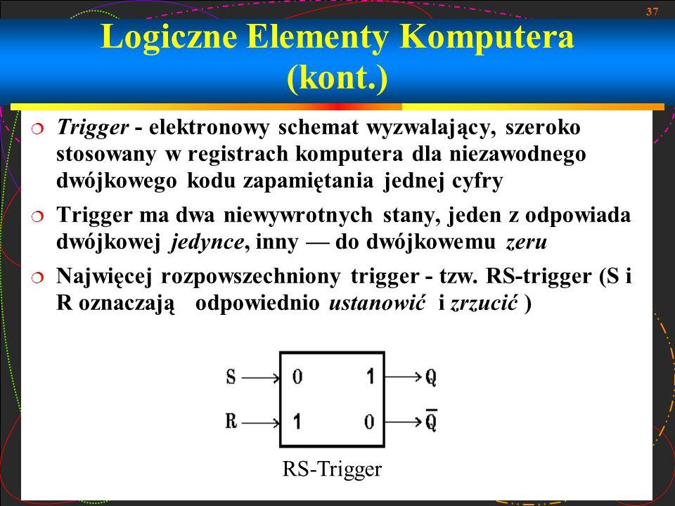 37 Trigger - elektronowy schemat wyzwalający, szeroko stosowany w registrach komputera dla niezawodnego dwójkowego kodu zapamiętania jednej cyfry Trig