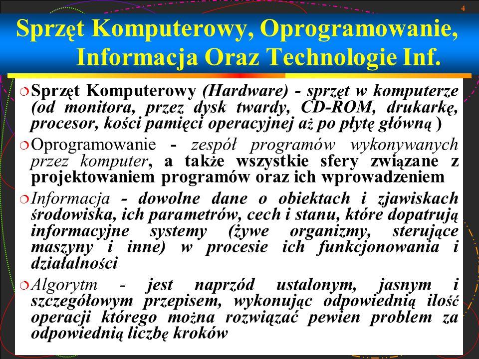 4 Sprz ę t Komputerowy, Oprogramowanie, Informacja Oraz Technologie Inf. Sprz ę t Komputerowy (Hardware) - sprz ę t w komputerze (od monitora, przez d