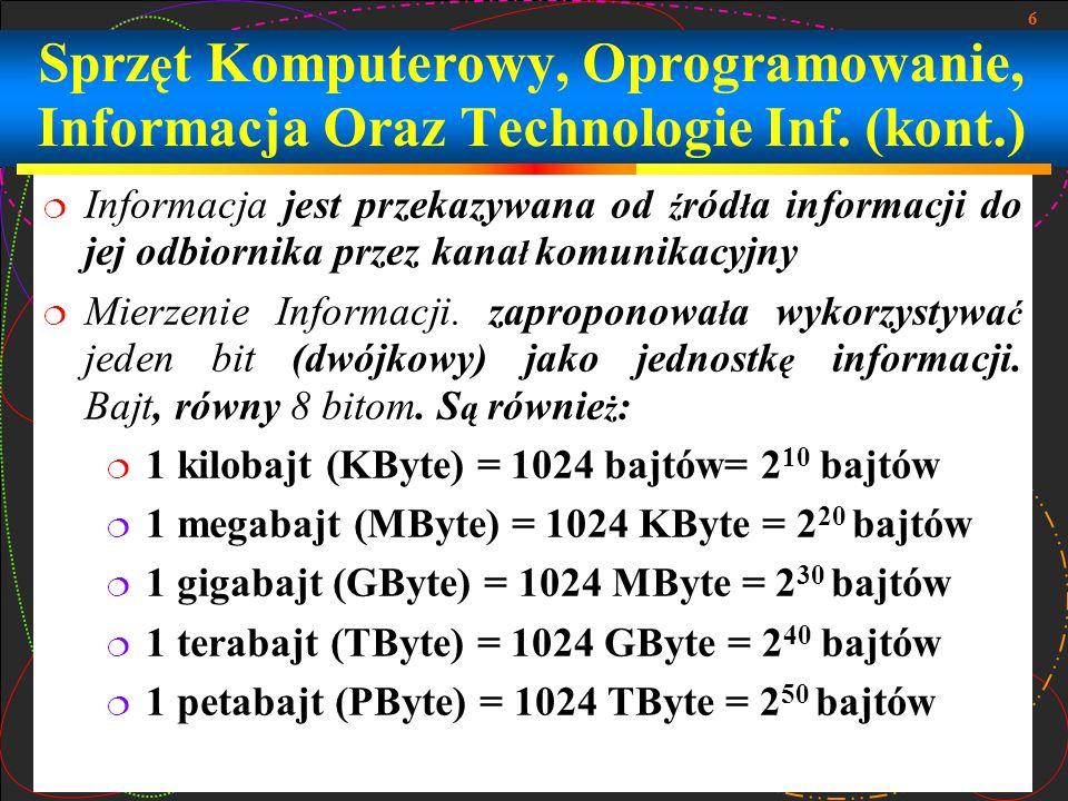 27 Zasada jednolitej pamięci Programy i info są zachowywani w tej samej pamięci Komputer nie rozróżnia co zachowuje się komórce pamięci - numer, tekst albo rozkaz Nad instrukcjami możliwie wykonywać takie same operacje jak i nad informacją Zasady adresowania Strukturalnie, podstawowa pamięć składa się z ponumerowanych komórek; dowolna komórka dostępna procesorowi w dowolny moment czasu Architektura Komputera (kont.)