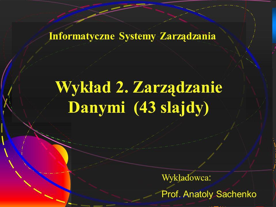 1 Wykład 2. Zarządzanie Danymi (43 slajdy) Wykładowca : Prof. Anatoly Sachenko Informatyczne Systemy Zarządzania