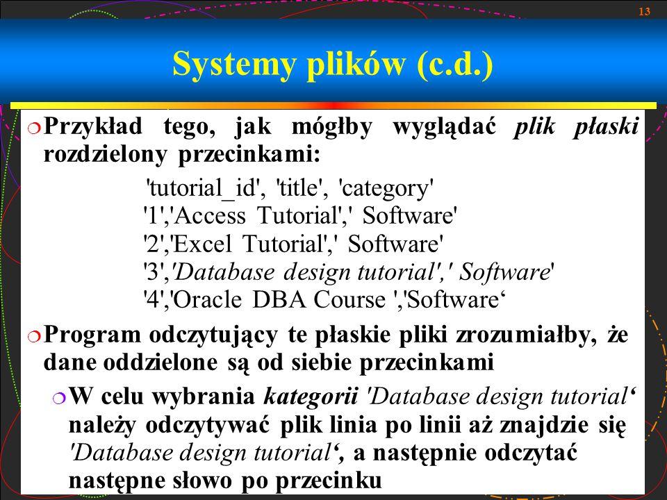 13 Systemy plików (c.d.) Przykład tego, jak mógłby wyglądać plik płaski rozdzielony przecinkami: 'tutorial_id', 'title', 'category' '1','Access Tutori