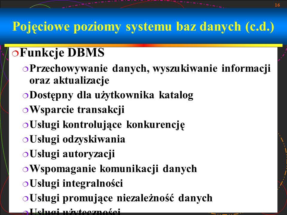 16 Pojęciowe poziomy systemu baz danych (c.d.) Funkcje DBMS Przechowywanie danych, wyszukiwanie informacji oraz aktualizacje Dostępny dla użytkownika