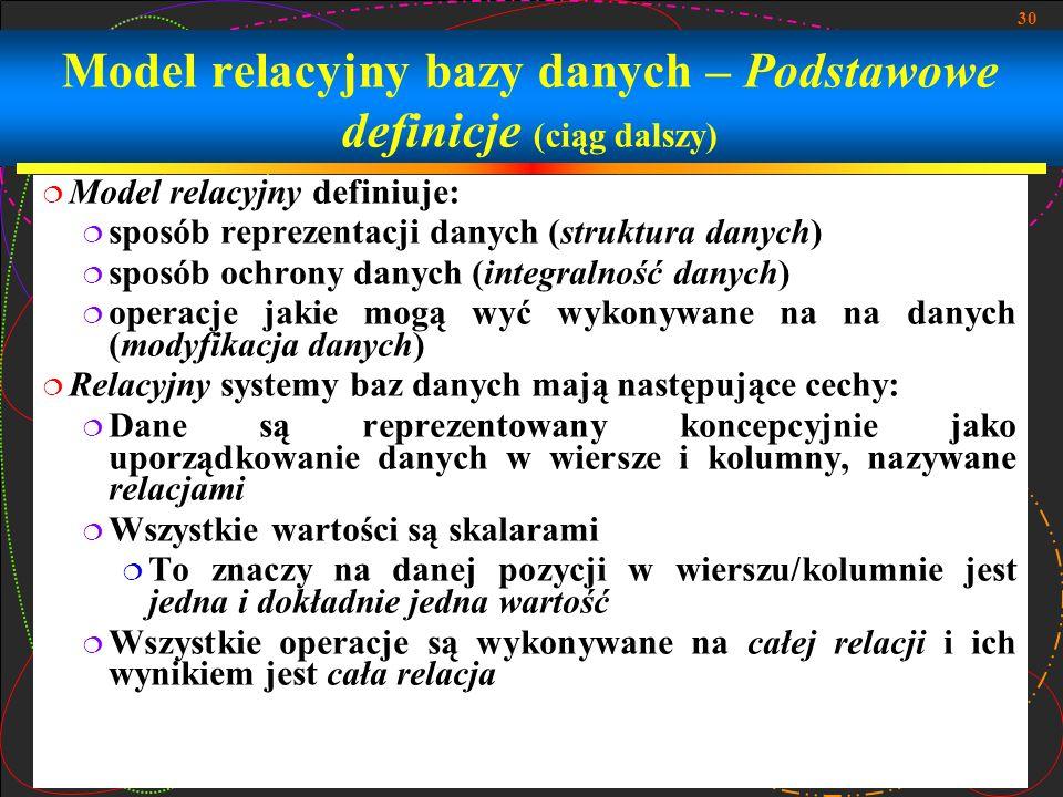 30 Model relacyjny bazy danych – Podstawowe definicje (ciąg dalszy) Model relacyjny definiuje: sposób reprezentacji danych (struktura danych) sposób o