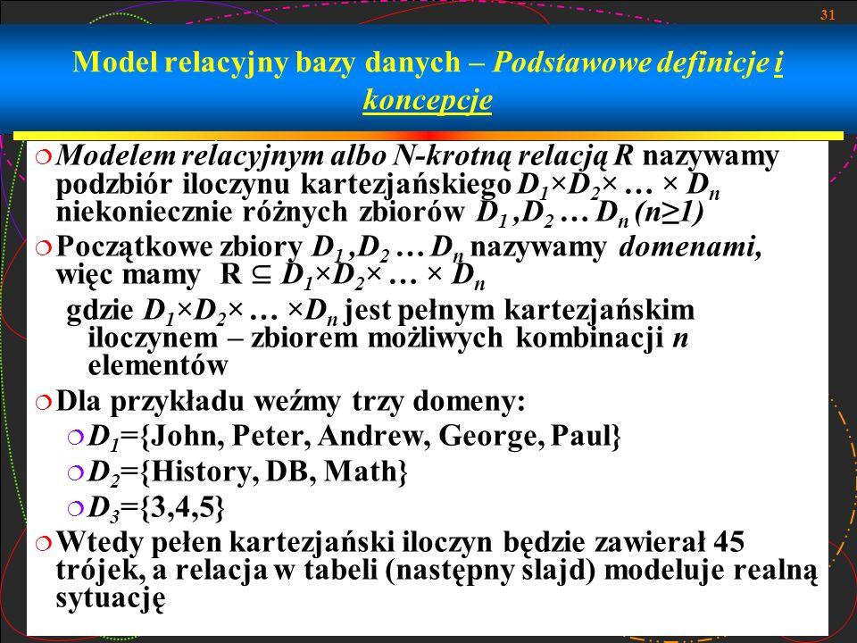 31 Model relacyjny bazy danych – Podstawowe definicje i koncepcje Modelem relacyjnym albo N-krotną relacją R nazywamy podzbiór iloczynu kartezjańskieg