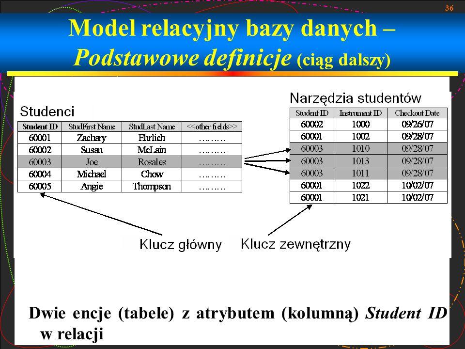 36 Model relacyjny bazy danych – Podstawowe definicje (ciąg dalszy) Dwie encje (tabele) z atrybutem (kolumną) Student ID w relacji