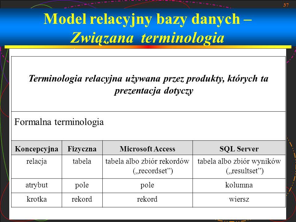 37 Model relacyjny bazy danych – Związana terminologia Terminologia relacyjna używana przez produkty, których ta prezentacja dotyczy Formalna terminol