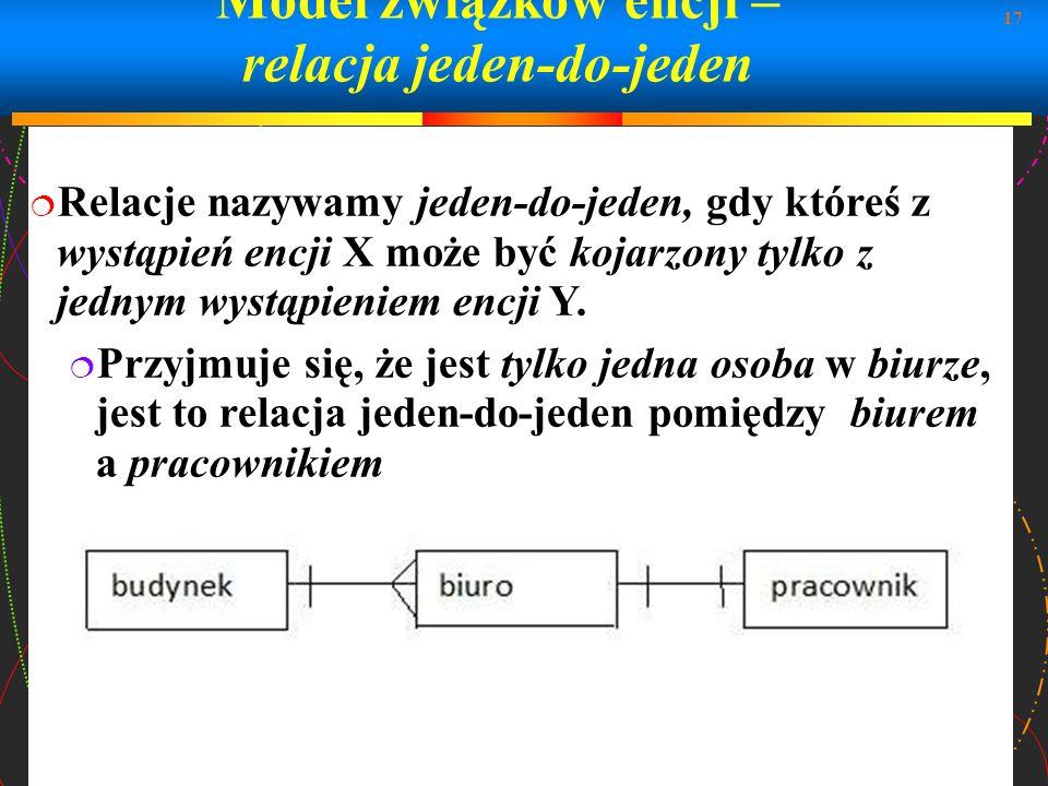 17 Model związków encji – relacja jeden-do-jeden Relacje nazywamy jeden-do-jeden, gdy któreś z wystąpień encji X może być kojarzony tylko z jednym wys