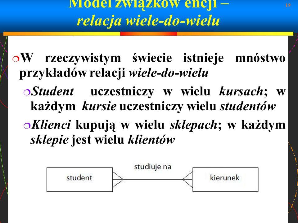 19 Model związków encji – relacja wiele-do-wielu W rzeczywistym świecie istnieje mnóstwo przykładów relacji wiele-do-wielu Student uczestniczy w wielu