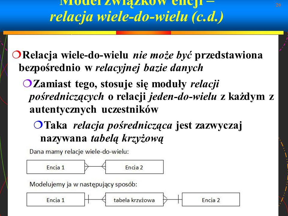 20 Model związków encji – relacja wiele-do-wielu (c.d.) Relacja wiele-do-wielu nie może być przedstawiona bezpośrednio w relacyjnej bazie danych Zamia