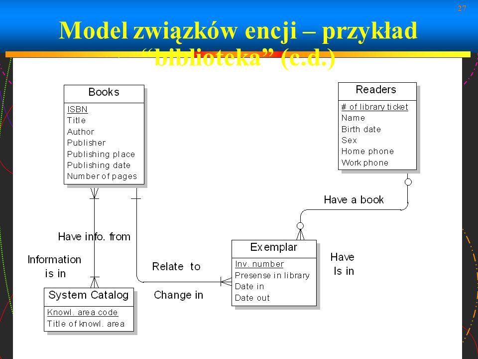 27 Model związków encji – przykład biblioteka (c.d.)