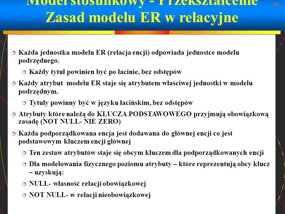 28 Model stosunkowy - Przekształcenie Zasad modelu ER w relacyjne Każda jednostka modelu ER (relacja encji) odpowiada jednostce modelu podrzędnego. Ka