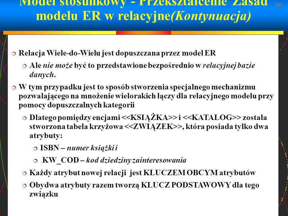 29 Model stosunkowy - Przekształcenie Zasad modelu ER w relacyjne(Kontynuacja) Relacja Wiele-do-Wielu jest dopuszczana przez model ER Ale nie może być