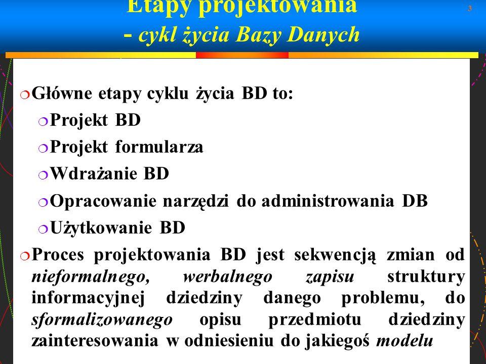 3 Etapy projektowania - cykl życia Bazy Danych Główne etapy cyklu życia BD to: Projekt BD Projekt formularza Wdrażanie BD Opracowanie narzędzi do admi
