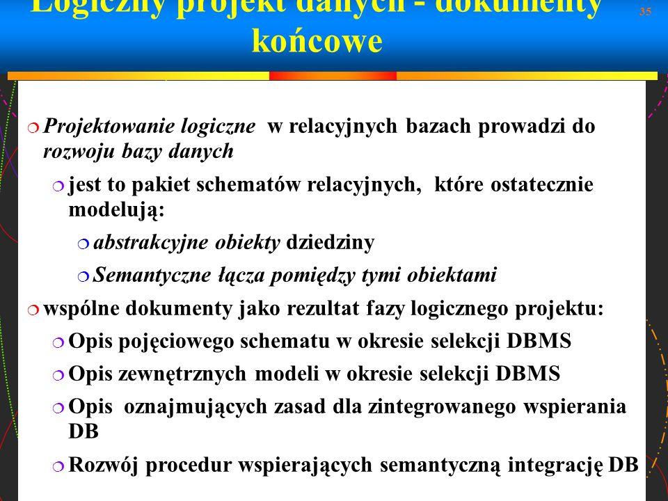 35 Logiczny projekt danych - dokumenty końcowe Projektowanie logiczne w relacyjnych bazach prowadzi do rozwoju bazy danych jest to pakiet schematów re